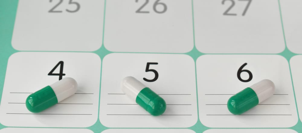 capsules on medication plan schedule list or calendar